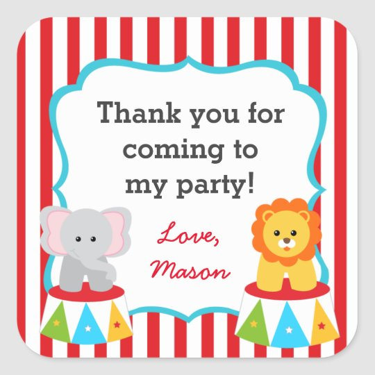 Circus Carnival Party Favour Stickers