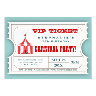 Circus Carnival Party Ticket Admission Invitation