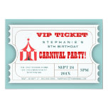 Circus Carnival Party Ticket Admission Invitation 13 Cm X 18 Cm Invitation Card