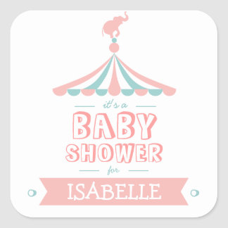 Circus Carnival Pink Teal Baby Shower Sticker