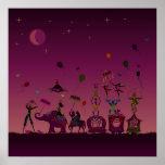circus carnival travelling at night poster