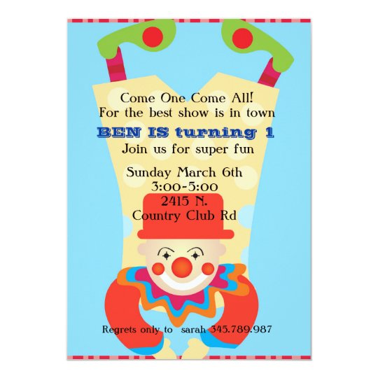 Circus Clow upside down birthday invitation