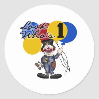 Circus Clown 1st Birthday Classic Round Sticker
