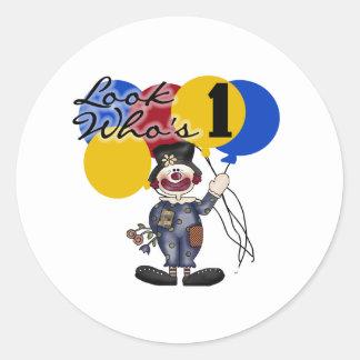 Circus Clown 1st Birthday Round Sticker