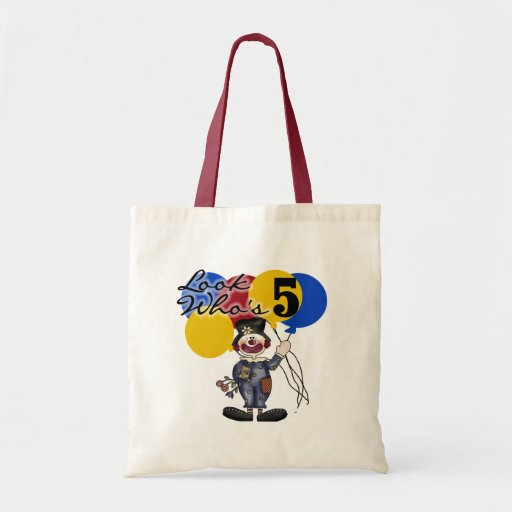 Circus Clown 5th Birthday Tshirts and Gifts Canvas Bags