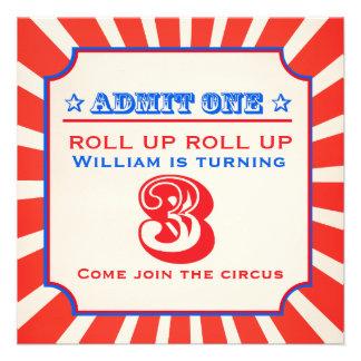 Circus clown fun fair 3th birthday invitation