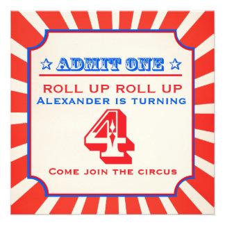 Circus clown fun fair 4th birthday invitation