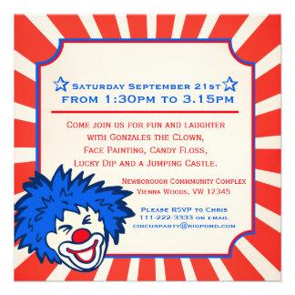 Circus clown fun fair 5th birthday invitation