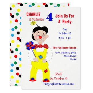 Circus Clown Fun Kids Birthday Party Editable Card