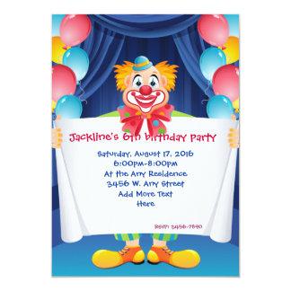 "Circus Clown Kids Birthday Party Invitation 5x7"""