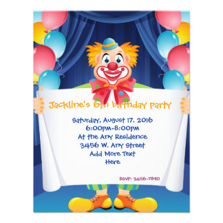 "Circus Clown Kids Party Invitation 4.25"" x 5.5"""