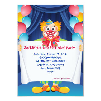 Circus Clown Kids  Party Invitation 4.5x6.25