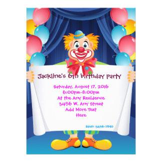 Circus Clown Kids Party Invitation 6 5 x 8 75