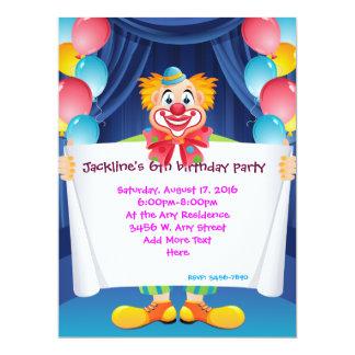 "Circus Clown Kids Party Invitation 6.5"" x 8.75"""