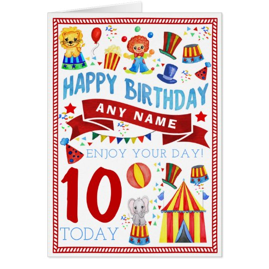 Circus Clown Personalised Birthday Card
