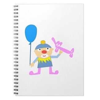 Circus Clown with Ballon Spiral Note Book