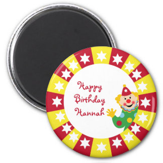 Circus Clown with Stars Ornament 6 Cm Round Magnet