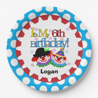 Circus Clowns 6th Birthday Paper Plates 9 Inch Paper Plate