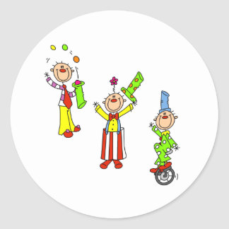 Circus Clowns Classic Round Sticker
