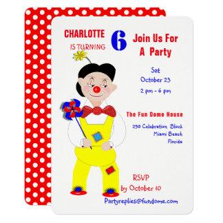 Circus Clowns Fun Kids Birthday Party Editable Card