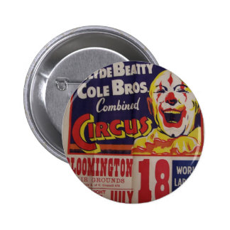 Circus, 'Clyde Beatty and Cole Bros' Retro Theater 6 Cm Round Badge