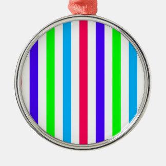Circus Colored Stripes Striped Rich Colors Silver-Colored Round Decoration