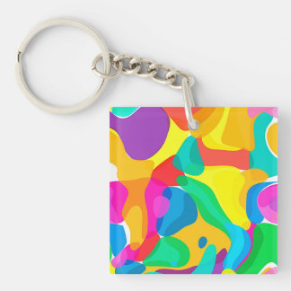 Circus Colors Chaos Abstract Art Pattern Double-Sided Square Acrylic Key Ring