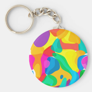Circus Colors Chaos Abstract Art Pattern Basic Round Button Keychain