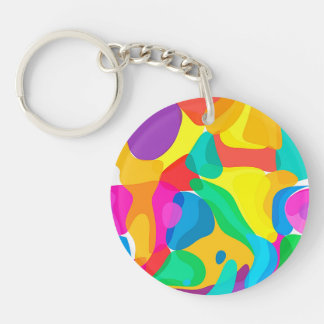 Circus Colors Chaos Abstract Art Pattern Single-Sided Round Acrylic Key Ring