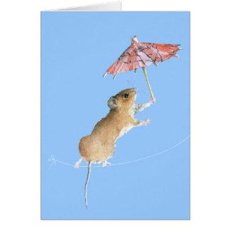 Circus Dancing Pink Parasol Mouse Greeting Card