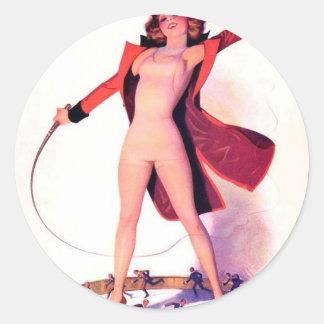 Circus Days Film Fun Vintage Art Round Sticker
