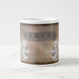 Circus design, text and elephants in corner large coffee mug
