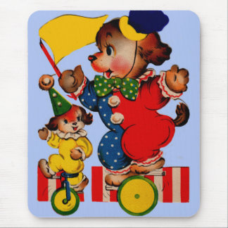 circus dogs riding unicycles mouse mat
