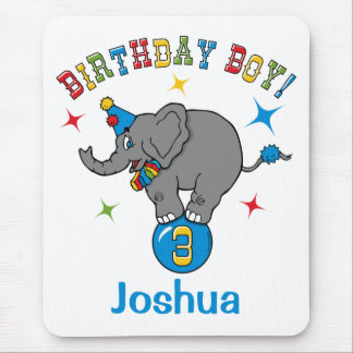 Circus Elephant 3rd Birthday Mouse Pad