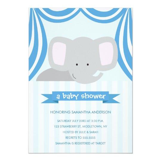 Circus Elephant Baby Shower Inviation - Boy Card