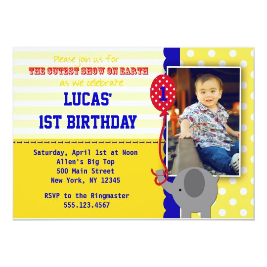 Circus Elephant Big Top Birthday Invitations Boy
