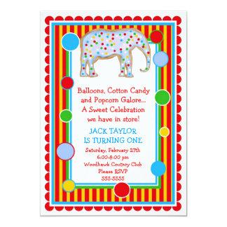 Circus Elephant Birthday Invitation- Primary 13 Cm X 18 Cm Invitation Card