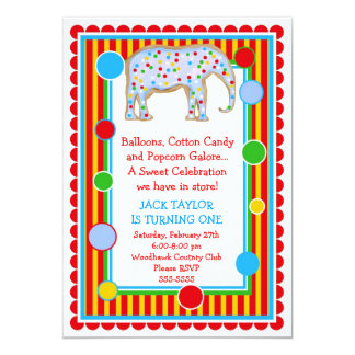 Circus Elephant Birthday Invitation- Primary Card