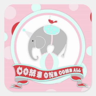 Circus Elephant Birthday Label Square Sticker