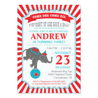 Circus Elephant Birthday Party Card