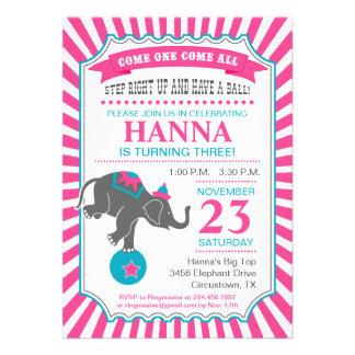Circus Elephant Birthday Party Custom Announcements