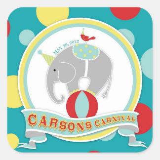 Circus Elephant Birthday Square Sticker