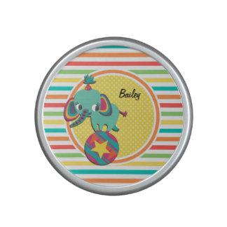 Circus Elephant; Bright Rainbow Stripes Bluetooth Speaker