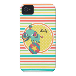 Circus Elephant Bright Rainbow Stripes iPhone 4 Case-Mate Cases