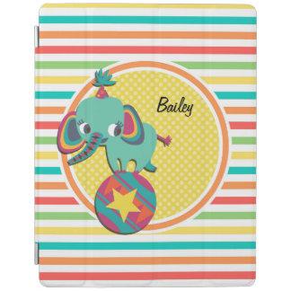 Circus Elephant; Bright Rainbow Stripes iPad Cover