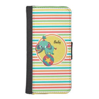 Circus Elephant Bright Rainbow Stripes Phone Wallet