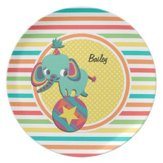 Circus Elephant; Bright Rainbow Stripes Plate