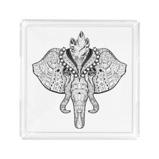 Circus Elephant Doodle Acrylic Tray