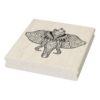 Circus Elephant Doodle Rubber Stamp