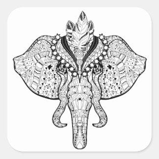 Circus Elephant Doodle Square Sticker